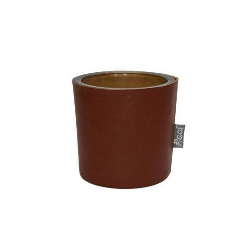 Raaf Pot / vaas / Waxinelichthouder echt leder cognac