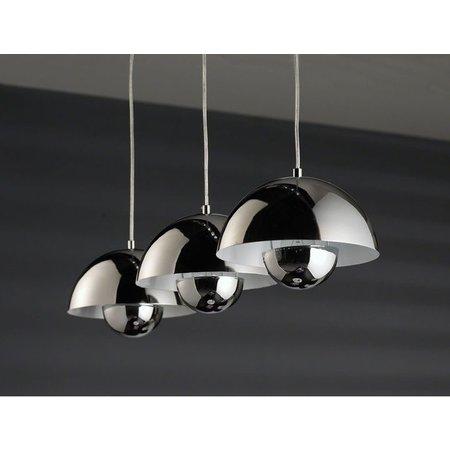 Het Landhuys Hanging lamp Round 3 semicircular hood Chrome