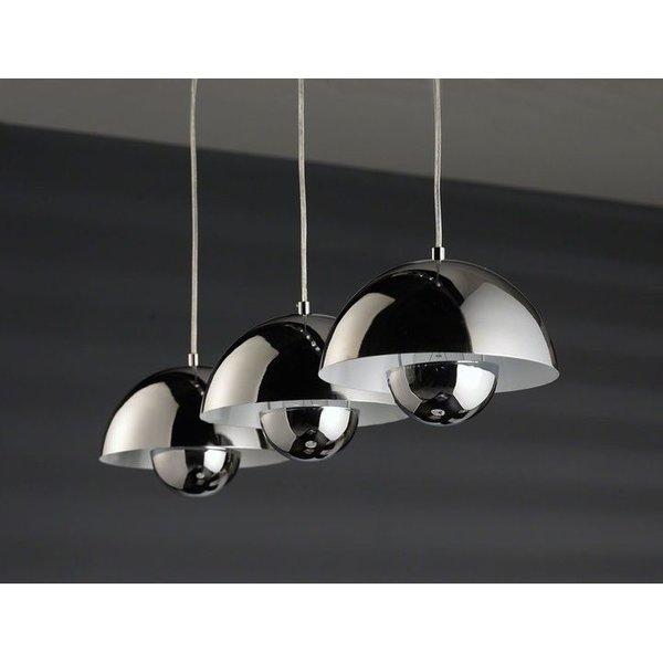 Verlichting - Hanglamp Round 3 halfronde kap Chrome