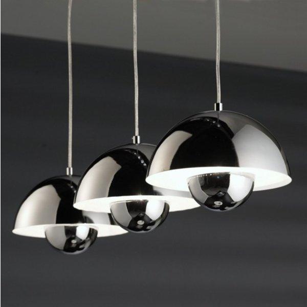 Hanging lamp Round 3 semicircular hood Chrome