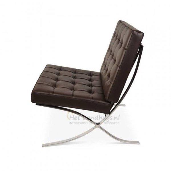 Barcelona chair donkerbruin PREMIUM replica | Incl. Gratis vloerbeschermers t.w.v € 20,-