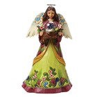 Heartwood Creek Angel With Bird In Glass Dome