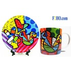 Disney Britto Peace & Love Mickey Plate & Mug