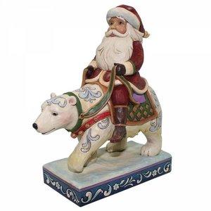 Heartwood Creek Santa riding polar bear (Bear With Me)