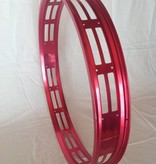"""cut-out rim RM80, 26"""", red anodized, 32 spoke holes"""