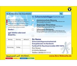 Anmeldezettel gelb A5 quer - Schornsteinfeger / Kaminkehrer
