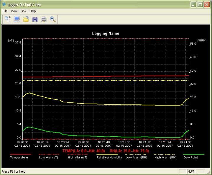 Printscreen software EXTECH RHT10
