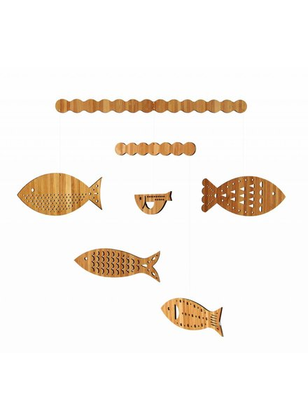 Petit Collage bamboe baby mobiel vissen