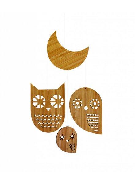 Petit Collage bamboe baby mobiel uilenfamilie