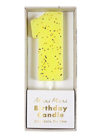 Meri Meri Kaars nr 1 (geel)
