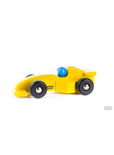 Bajo Houten speelgoed raceauto geel