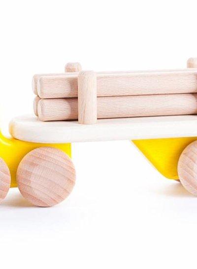 Bajo Houten gele vrachtwagen met boomstammen, Bajo