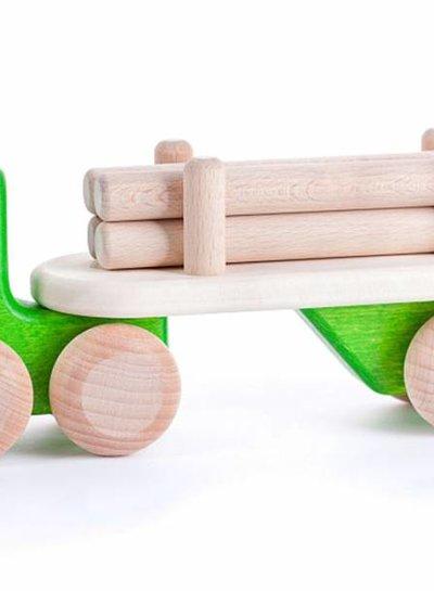 Bajo Houten groene vrachtwagen met boomstammen, Bajo