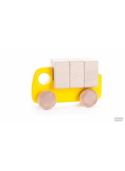 Bajo Houten gele vrachtwagen met blokken, Bajo