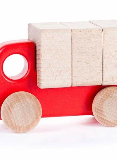 Bajo Houten rode vrachtwagen met blokken, Bajo