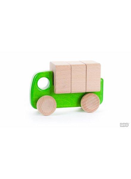 Bajo Houten groene vrachtwagen met blokken, Bajo