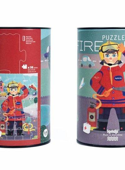 Londji  Puzzel brandweer in blik
