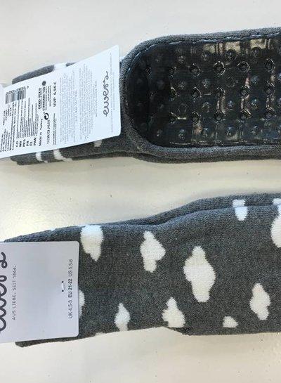 Ewers Antislip sokken grijs wolkjes