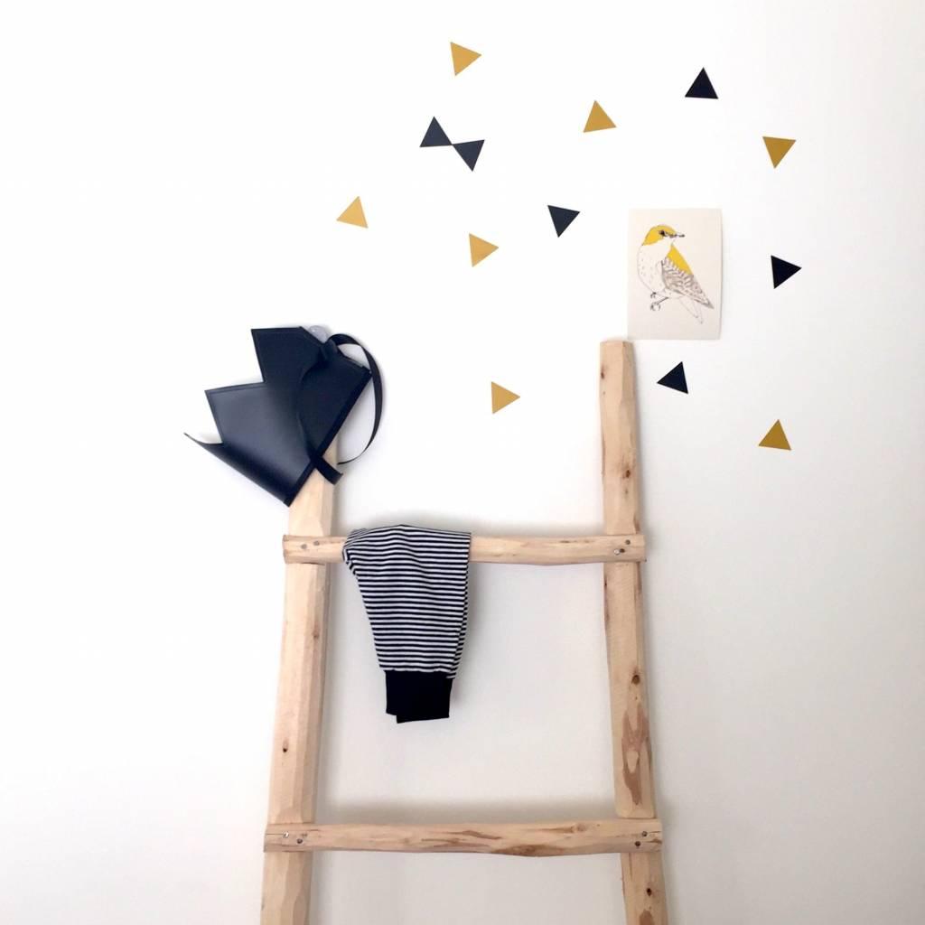SuzyB Muurstickers triangle mosterdgeel/ zwart