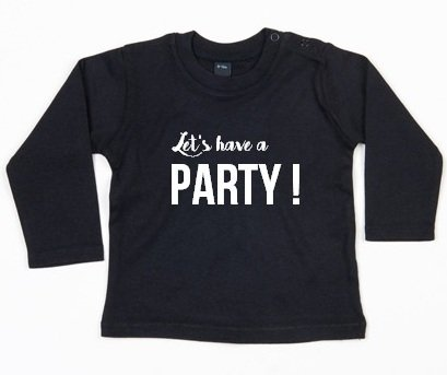 SuzyB Shirt Let's have a party (zwart)