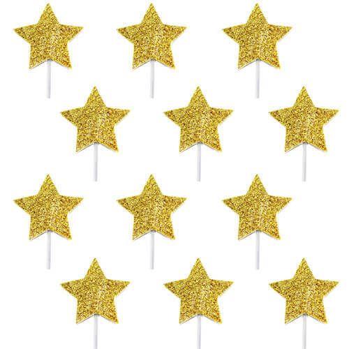 Gouden cupcake toppers sterren