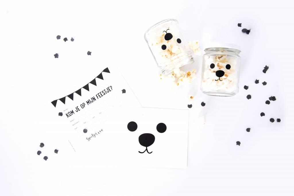 Glazen potjes met witte deksel (set van 5 potjes)