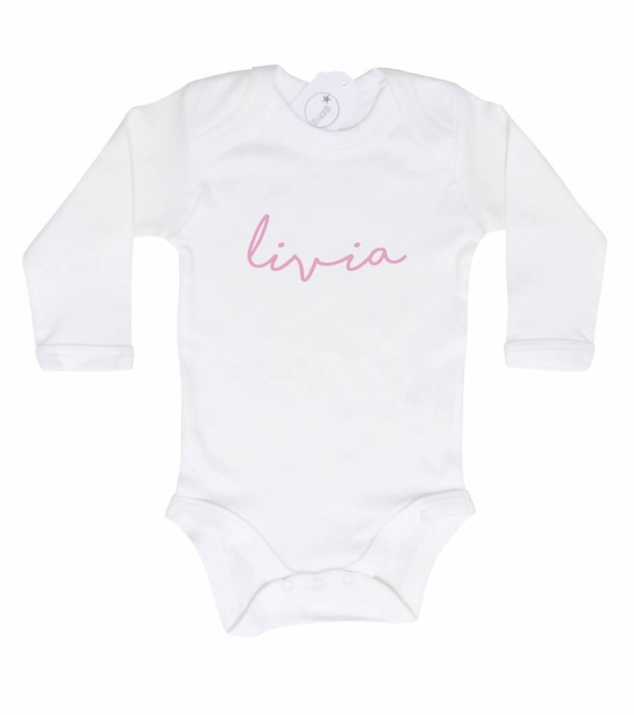 SuzyB Romper met naam wit Livia