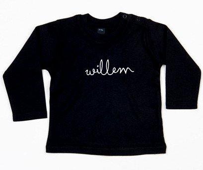 SuzyB Zwart shirt met naam Willem