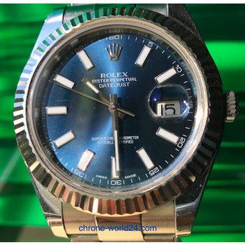 Rolex Datejust II Ref. 116334 blue dial 2012 box/papersTOP