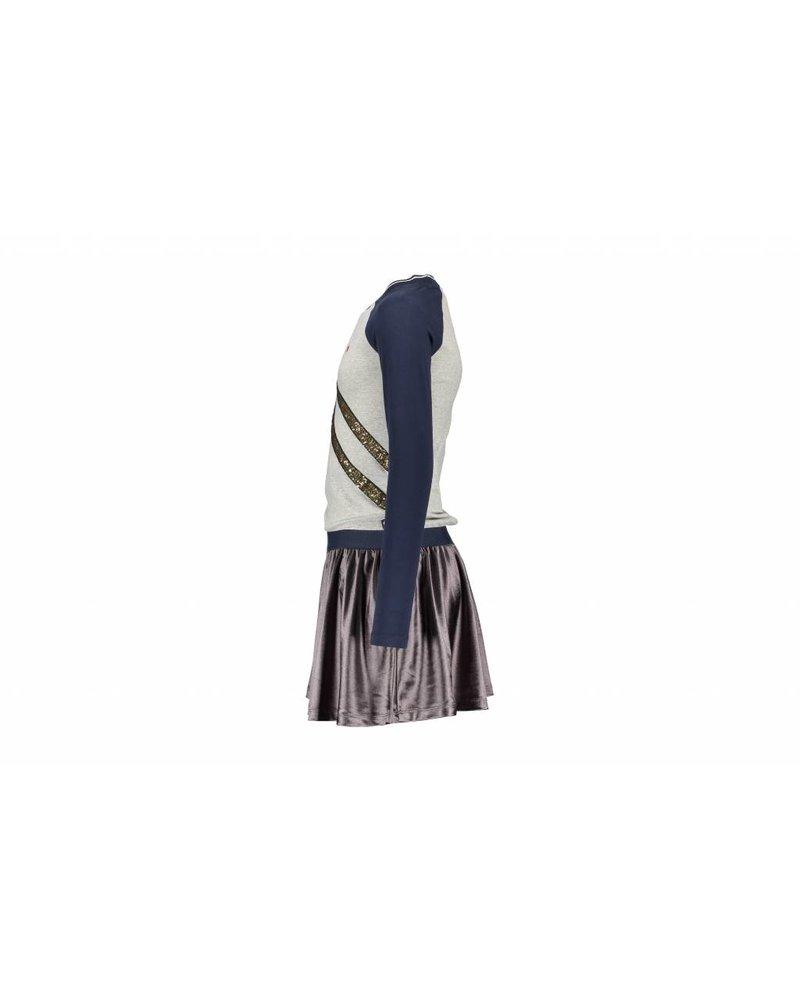 Like Flo Grey Dress - stripe gold
