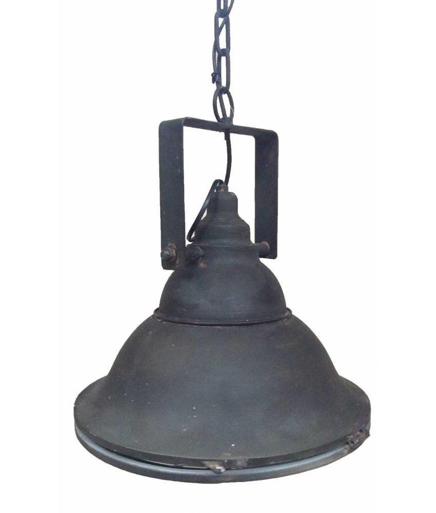 Sweet Living Zwarte Metalen Hanglamp Met Glasplaat - 36 cm