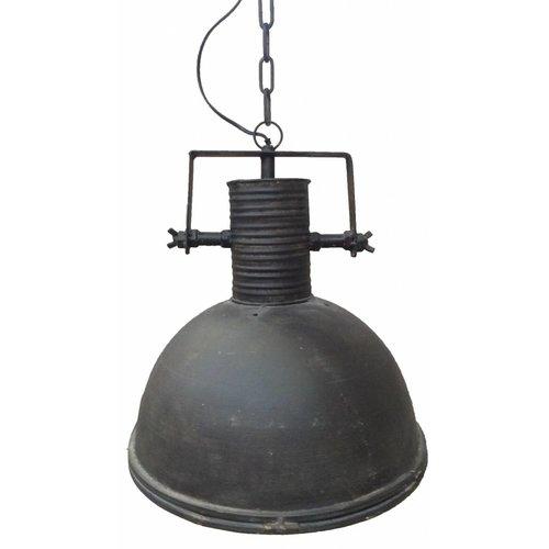 Sweet Living Grote Zwarte Metalen Hanglamp Met Glasplaat - 42 cm