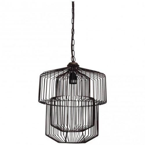 PTMD Hanglamp ijzer zwart - 31x31x39 cm