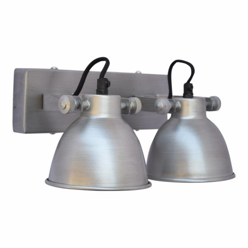 Sweet Living Wandlamp industrial dubbel antiek zink - 28x14x16 cm