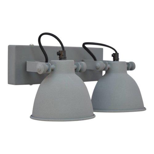 Sweet Living Wandlamp industrial dubbel vintage grey - 28x14x16 cm