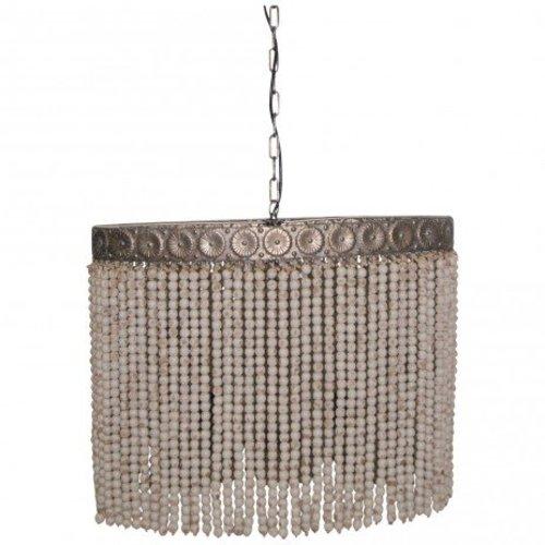 PTMD Hanglamp Witte Kralen - 70x32x62 cm