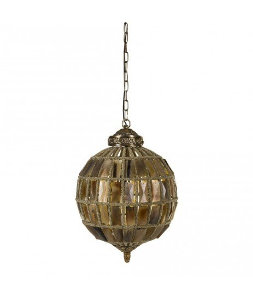 PTMD Hanglamp Brown Glass - Ø30xH30 cm