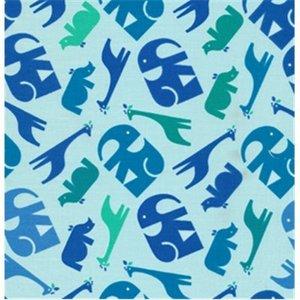 Baumwollstoff Zoo Menagerie blue