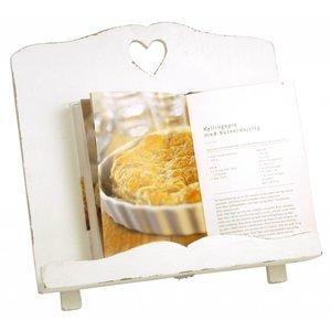 IB Laursen Kochbuchständer aus Holz Herz weiß