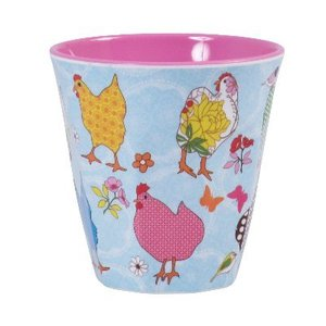 Rice Melamine Cup Hen Print