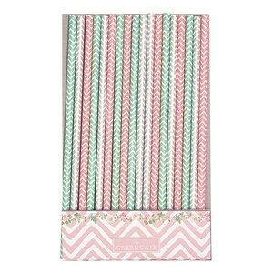 GreenGate Paper straw Ziggy pink 20 pcs.