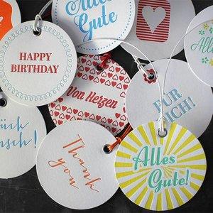 10 Geschenkanhänger Letterpress