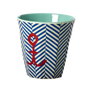 Rice Melamine Medium Cup with Sailor Stripe and Anchor Print