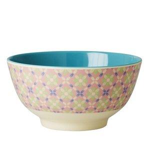 Rice Melamine Bowl with Flower Tile Print