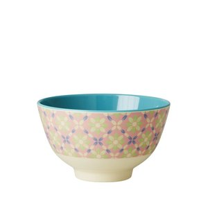 Rice Small Melamine Bowl with Flower Tile Print