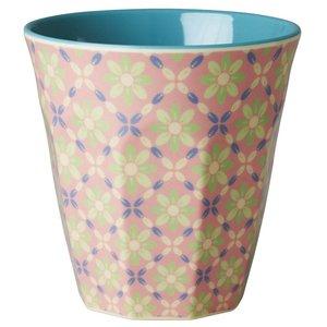 Rice Medium Melamine Cup with Flower Tile Print