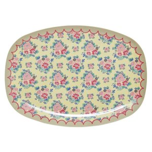 Rice Rectangular Melamine Plate with Dutch Rose Print