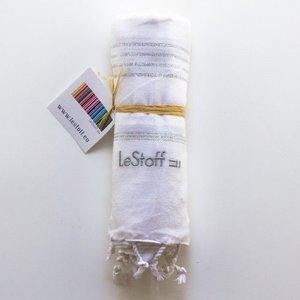 Le Stoff Hammamtuch weiß/silber 100x180