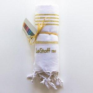 Le Stoff Hammamtuch weiß/gold 100x180