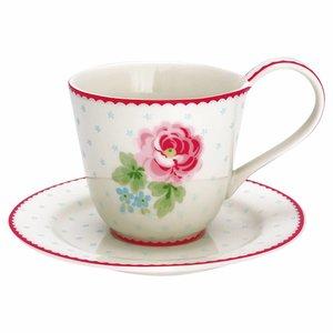 GreenGate Tasse mit Untertasse Lily white